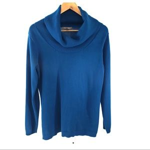 Roz and Ali Blue Cowl Neck Long Sleeve Sweater L